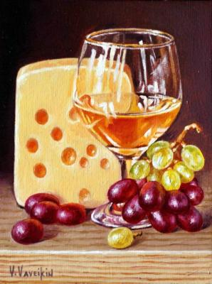 White wine, cheese and grapes