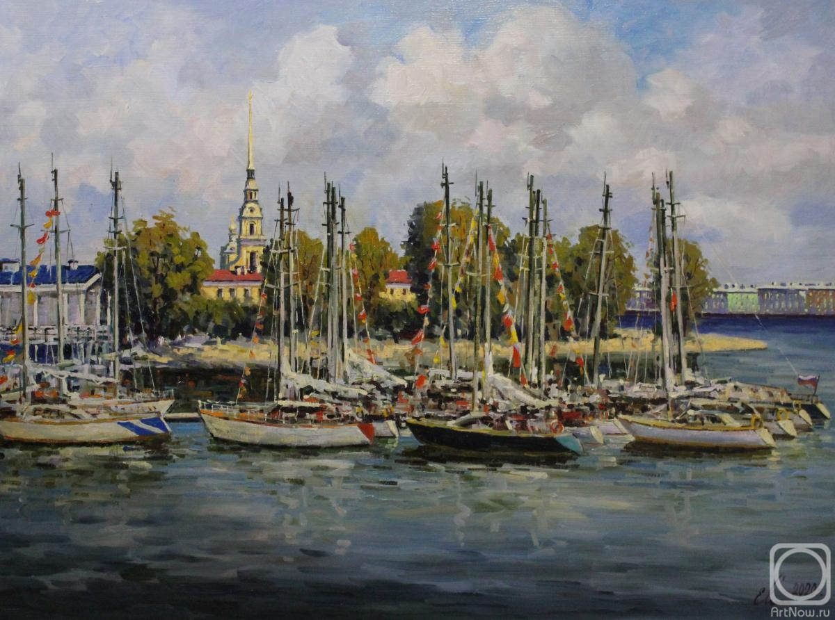 Malykh Evgeny. St.Petersburg. Yachts near The St. Peter and Paul Fortress