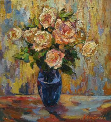Roses in a blue vase. Bocharova Anna