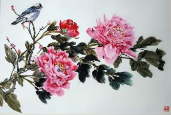 Peonies in harmony with the bird (Painting Peonies). Mishukov Nikolay