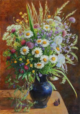 Bouquet with daisies and butterflies. Shumakova Elena