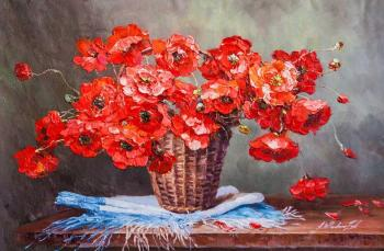 Bouquet of red poppies in a basket. Vlodarchik Andjei