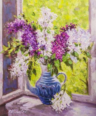 Bouquet of lilacs on the window (Still Life In The Interior). Vlodarchik Andjei