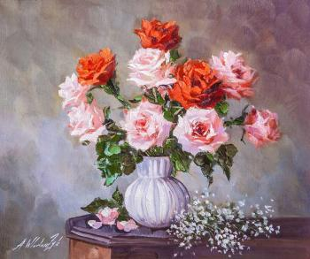 Bouquet of pink and coral roses in a vase (Still Life In The Interior). Vlodarchik Andjei