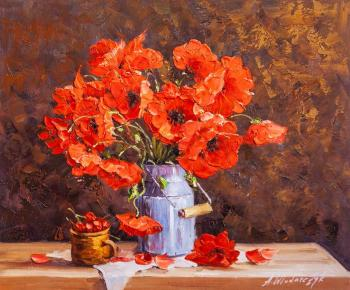 Still life with poppies and cherries (Still Life In The Interior). Vlodarchik Andjei