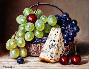 Cheese and two grapes