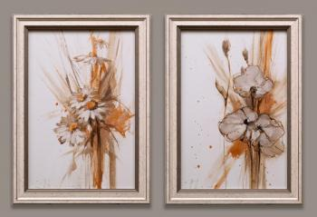 Decorative sketch. Diptych. Chamomile, white poppies