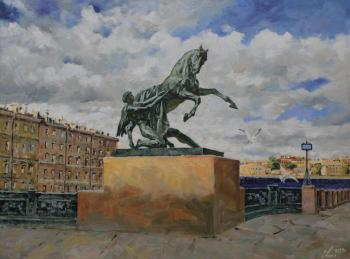 St.Petersburg. Anichkov Bridge. The sculpture Tamed Horse
