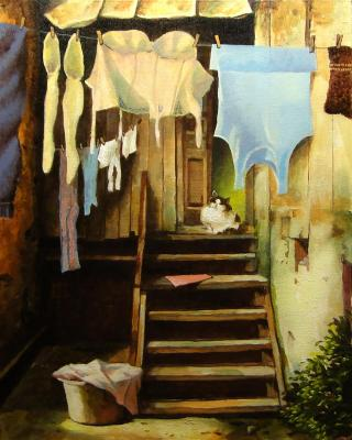 The laundress does the laundry all day. Andrianov Andrey