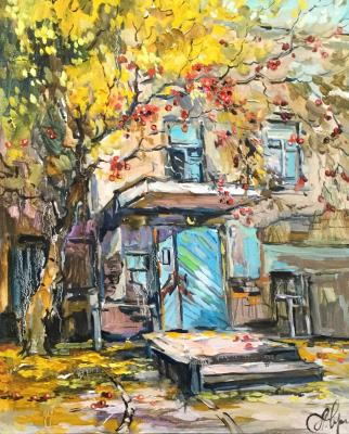 Autumn apples. Courtyard on Osyozhenka street. Charina Anna
