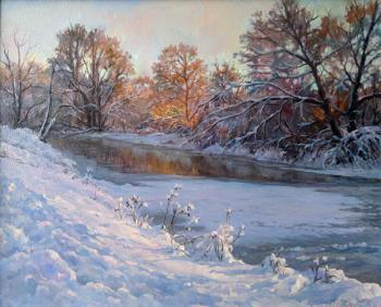 Winter evening by the river (Russian Artist). Dobrodeev Vadim
