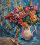 Bocharova Anna. Roses on the background of a turquoise scarf