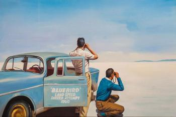 A copy of Jack Vettriano's painting. Bluebird. Land Speed Record. Kamskij Savelij