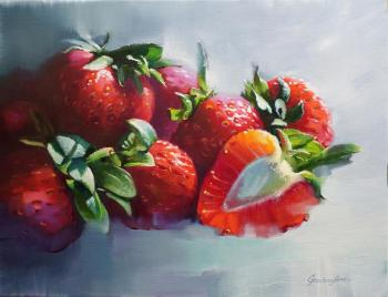 "Still life with strawberries ""Winter dream"" (Hyperrealism). Grechina Anna"