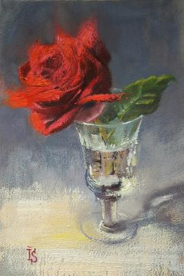 Red rose in crystal glass. Sergeyeva Irina