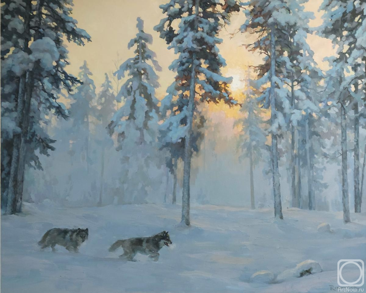 Volkov Sergey. Frosty morning. Wolves
