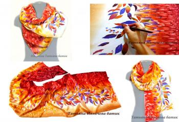 "Batik silk scarf ""Autumn Colors"". Ivlicheva Tatiana"