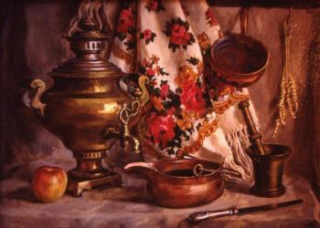 Still life with samovar and shawl
