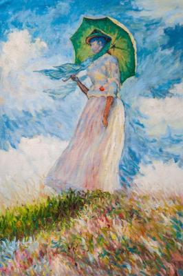 A copy of Claude Monet's painting. Lady with an umbrella, turning to the left , 1886. Kamskij Savelij