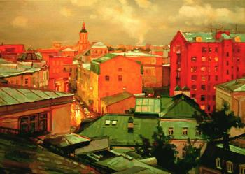 Moscow roofs. Twilight rain in Bobrov Lane. Volkov Sergey