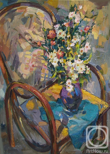 Bocharova Anna. Wildflowers on a wicker chair
