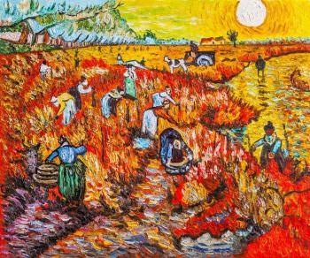 Copy of Van Gogh paintings. Red vineyards in Arles. Vlodarchik Andjei
