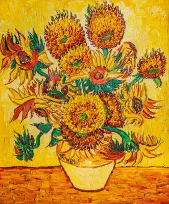 Copy of Van Gogh's painting. Vase with fifteen sunflowers, 1888. Vlodarchik Andjei