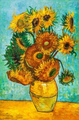 A copy of Van Gogh's painting. Vase with twelve sunflowers, 1888. Vlodarchik Andjei