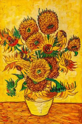 A copy of Van Gogh's painting. Vase with Fifteen Sunflowers, 1888. Vlodarchik Andjei