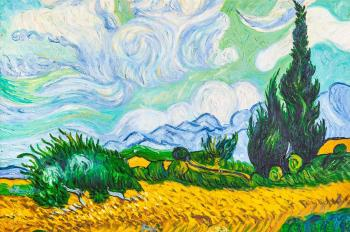 Copy of the painting of van Gogh's. Wheat field with cypresses, 1889. Vlodarchik Andjei