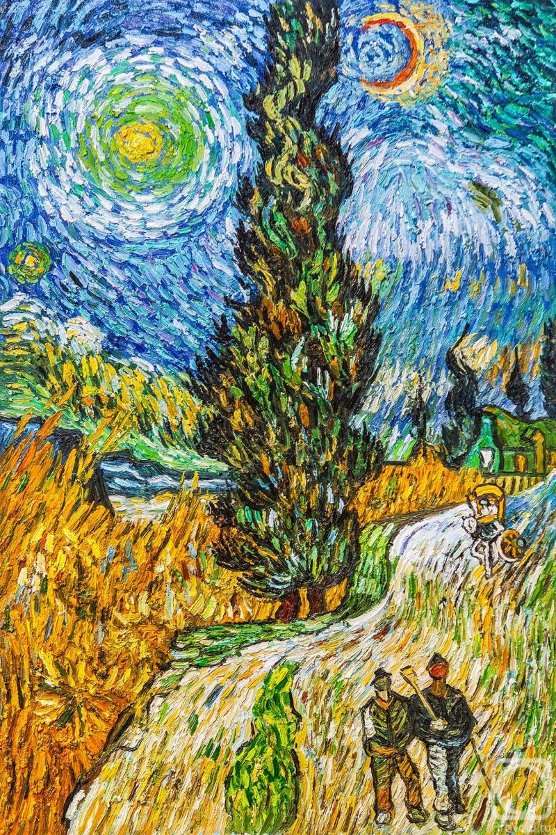 Painting «Copy of Van Gogh paintings. The road with cypress and star» — buy on ArtNow.ru