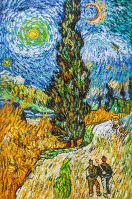 Copy of Van Gogh paintings. The road with cypress and star. Vlodarchik Andjei