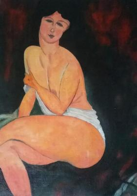 Sitting on the sofa - naked (Erotic). Klenov Andrei