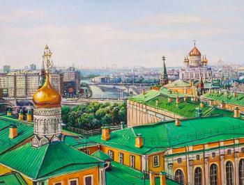 Walking on the roofs of Moscow. View of the Cathedral of Christ the Savior. Kamskij Savelij