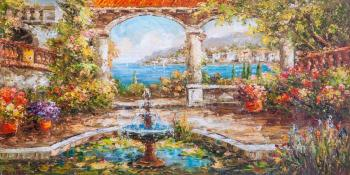Mediterranean courtyard. Fountain and water lilies. Vlodarchik Andjei