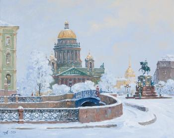 Blue bridge in Saint Petersburg. Alexandrovsky Alexander