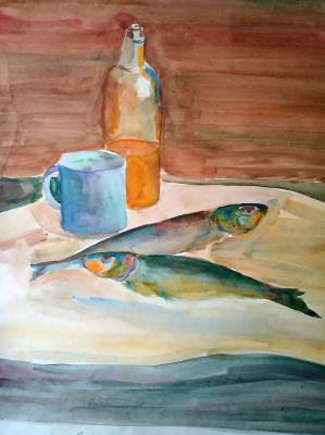 Still life with herring (Watercolor). Golubtsova Nadezhda