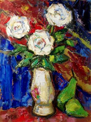 White roses in the white vase. Shchupak Victor