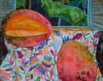 Mangoes smell stronger at night (Watercolor). Veranes Tatiana