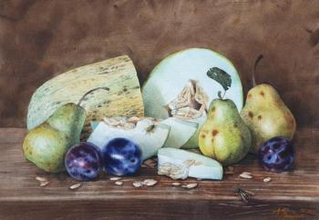 Still life with melon and pears. Shundeeva Tatiana