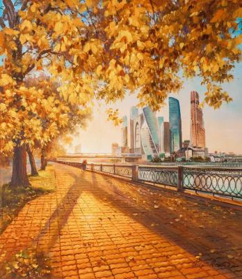 Autumn in the city. View of Moscow City from the embankment. Romm Alexandr