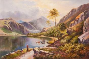 Near the mountain lake. Free copy of Percy Sidney Richard's painting. Llyn-y-Ddinas, North Wales. Romm Alexandr
