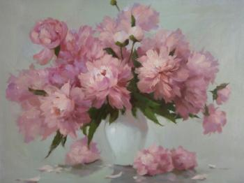 Peonies in the white vase