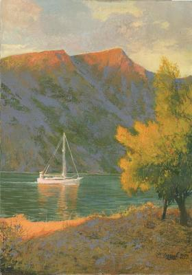 Bay of Kotor at sunset. Chernov Denis