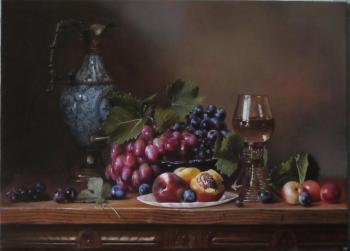 Still life with a blue jug, fruit and a glass of wine. Didishko Oleg