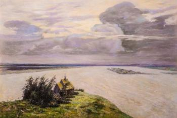 A copy of I. Levitan's painting. Above Eternal Peace. Kamskij Savelij