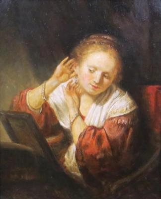Rembrandt harmens van Rijn. Young woman trying on earrings. Komarov Nickolay