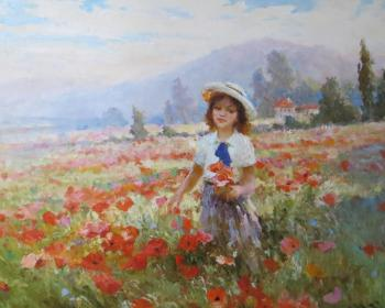 The girl and the poppies. Komarov Nickolay