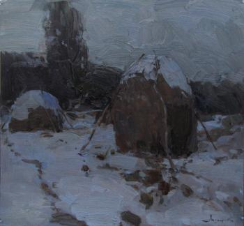 Winter twilight. Haystacks. Makarov Vitaly