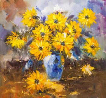 Bouquet of yellow flowers in a blue vase N2. Potapova Maria
